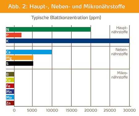 Blattkonzentration von Haupt-, Neben- und Mikronährstoffe